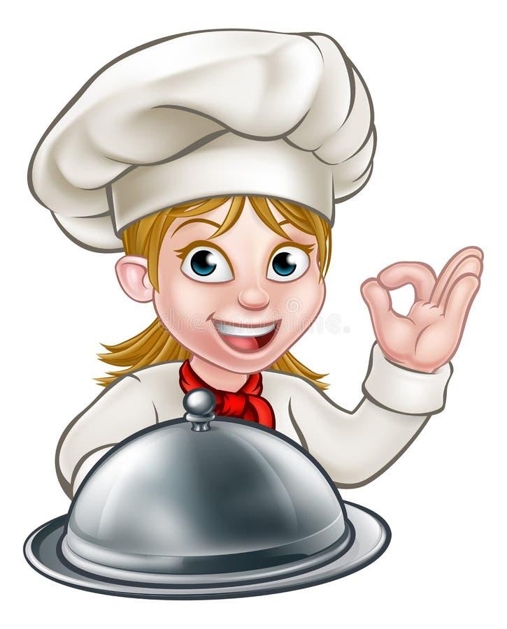 Szef kuchni kobiety postać z kreskówki maskotka ilustracji