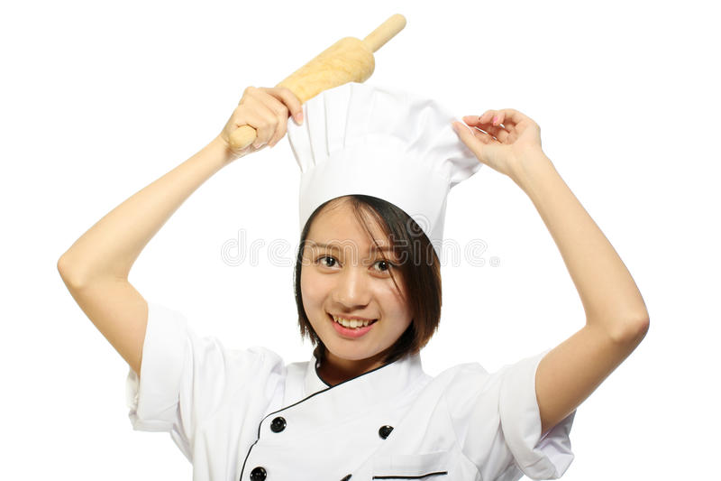 Szef kuchni kobiety uśmiechnięty mienie piec tocznej szpilki obrazy stock