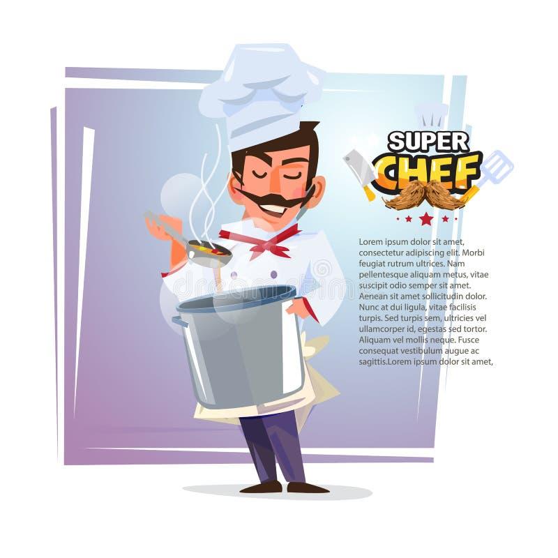 Szef kuchni kosztuje karmowego odór z garnkiem w jego ręce charakteru desi ilustracja wektor