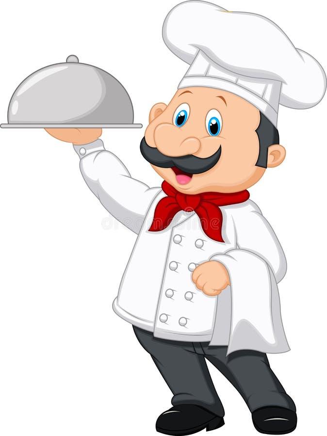 Szef kuchni kreskówki mienia półmisek ilustracja wektor