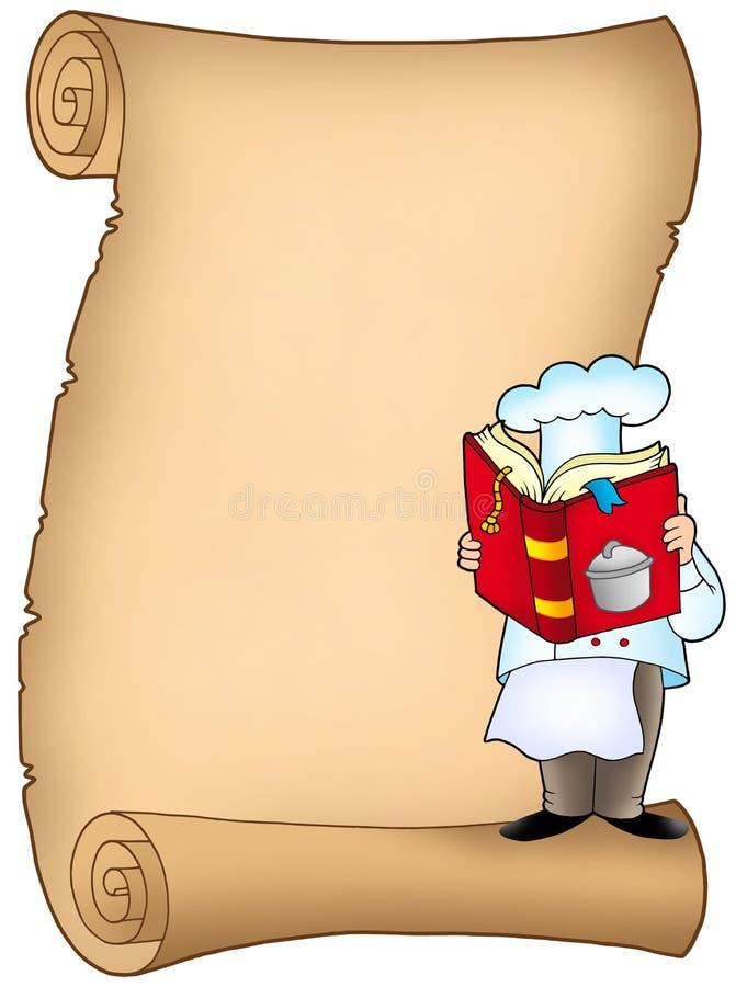 szef kuchni książkowy pergamin ilustracji