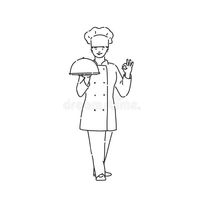 Szef kuchni kucbarska kobieta w profesjonalisty mundurze z naczyniem w r?ce pokazuje kciuki OK podpisuje Kreskowej sztuki stylu c ilustracji