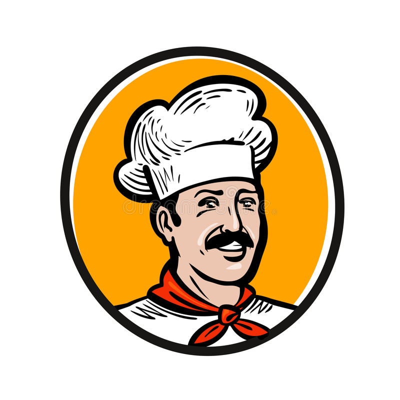 Szef kuchni, kucbarski logo Etykietka lub ikona dla projekta menu cateringu lub restauraci również zwrócić corel ilustracji wekto ilustracji