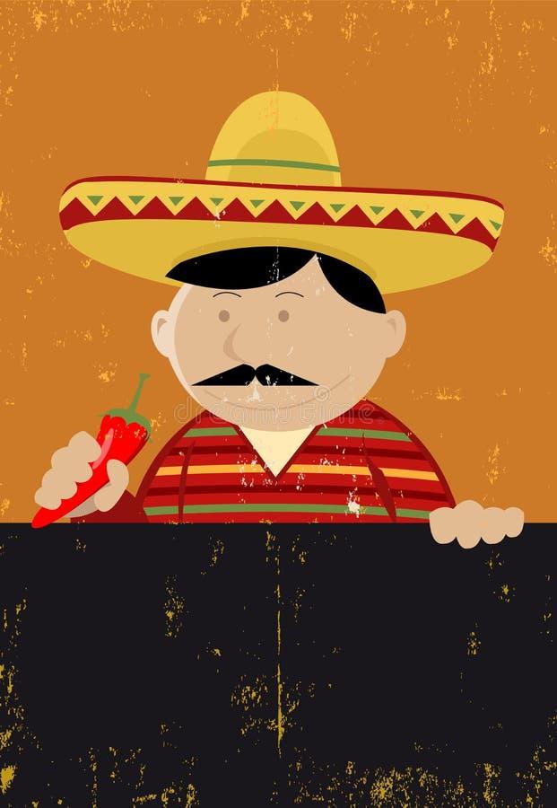 szef kuchni kucbarski menu meksykanin royalty ilustracja
