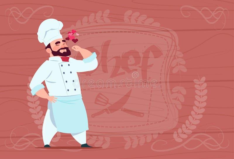 Szef kuchni Kucbarskiej Szczęśliwej Uśmiechniętej kreskówki Restauracyjny szef W bielu mundurze Nad Drewnianym Textured tłem ilustracji
