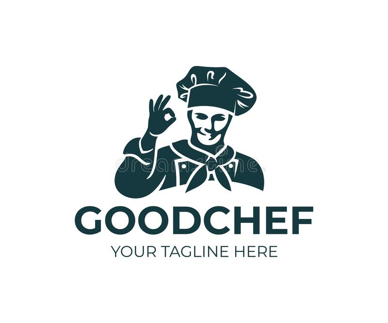 Szef kuchni, kucharz w nakrętce lub przedstawienia gestykulujemy ok, loga projekt Kuchnia, restauracja, przekąska bar, gastronomy royalty ilustracja