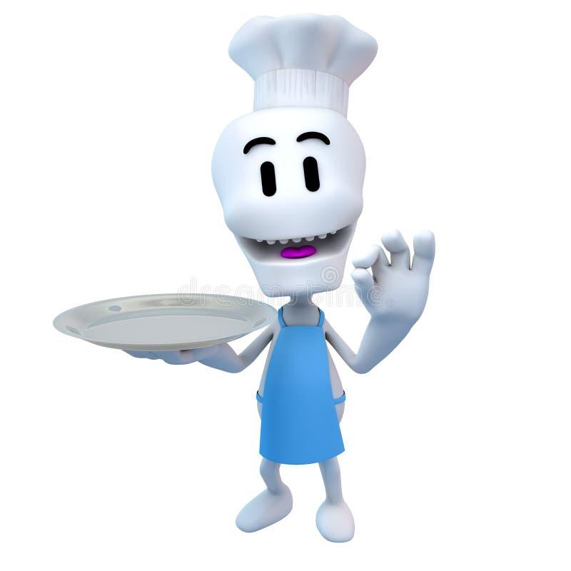 Szef kuchni, kucharz z kapeluszem i mienie taca, ilustracja wektor
