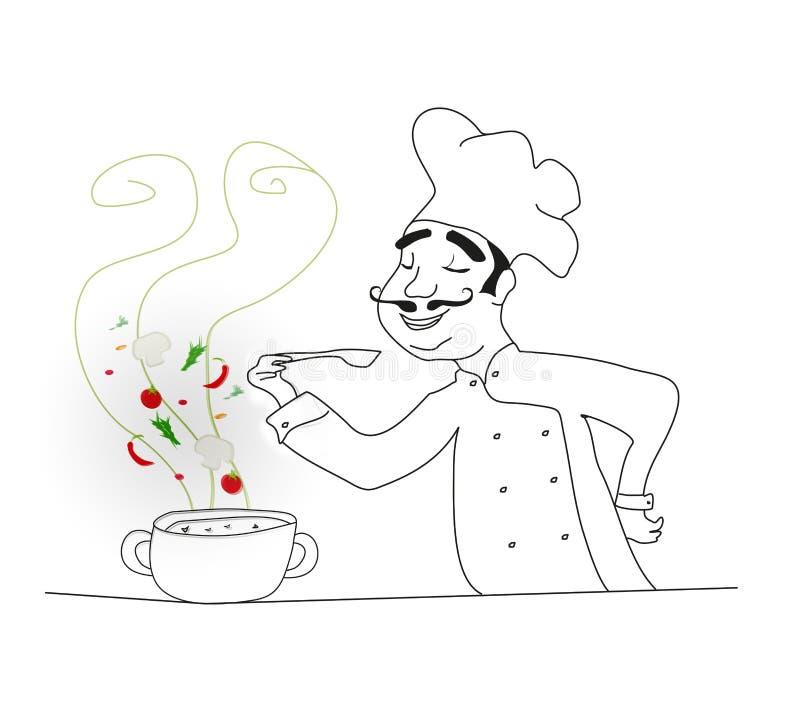 Szef kuchni kulinarna polewka - doodle ilustracja royalty ilustracja