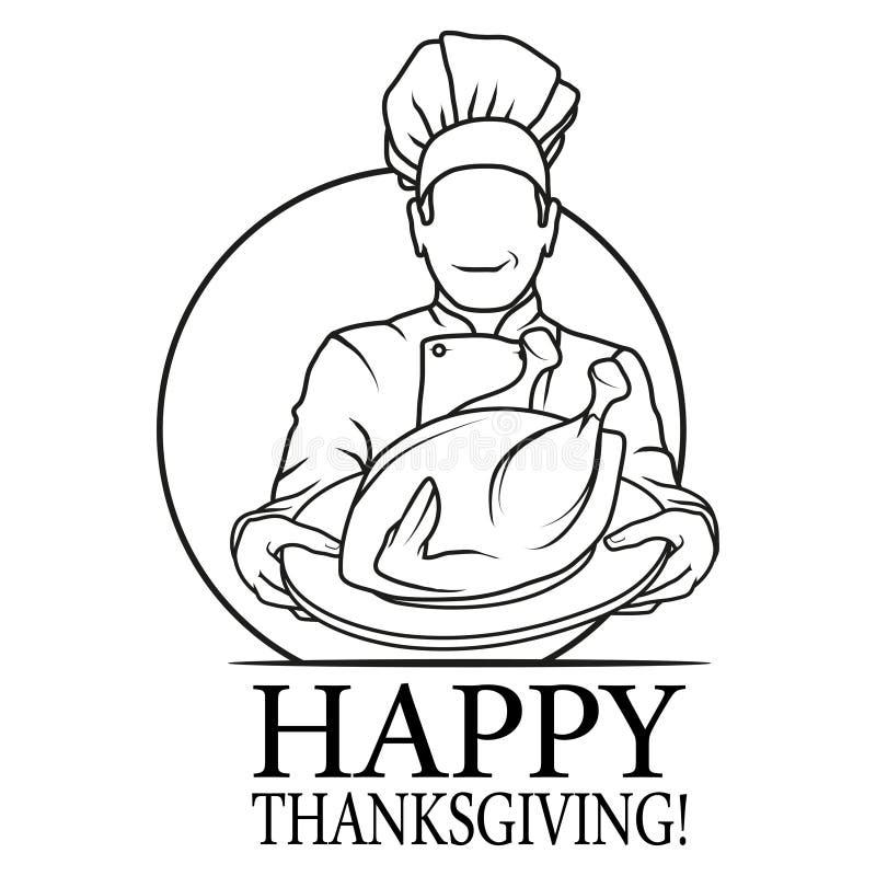 Szef kuchni, kurczak i indyk ilustracji