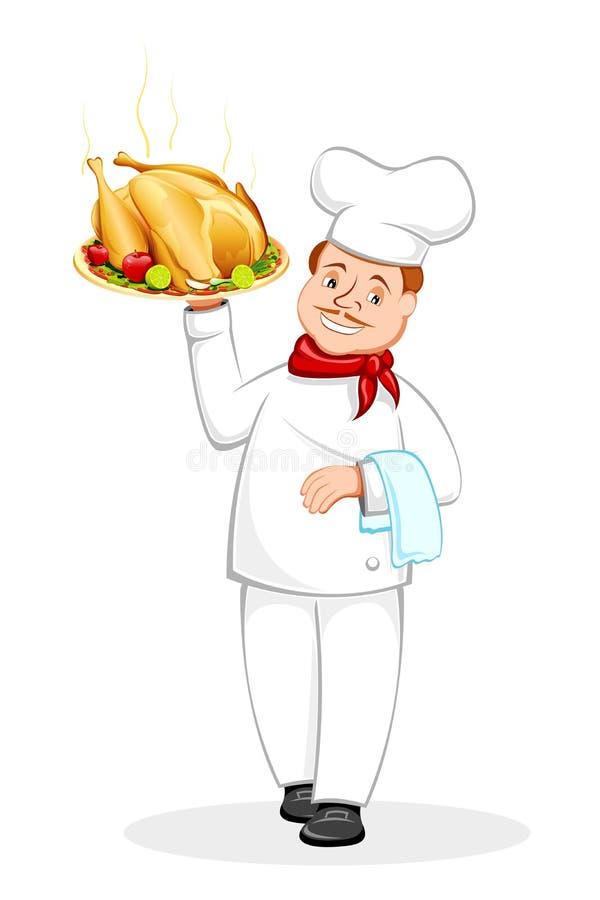 szef kuchni kurczak piec porcja ilustracji