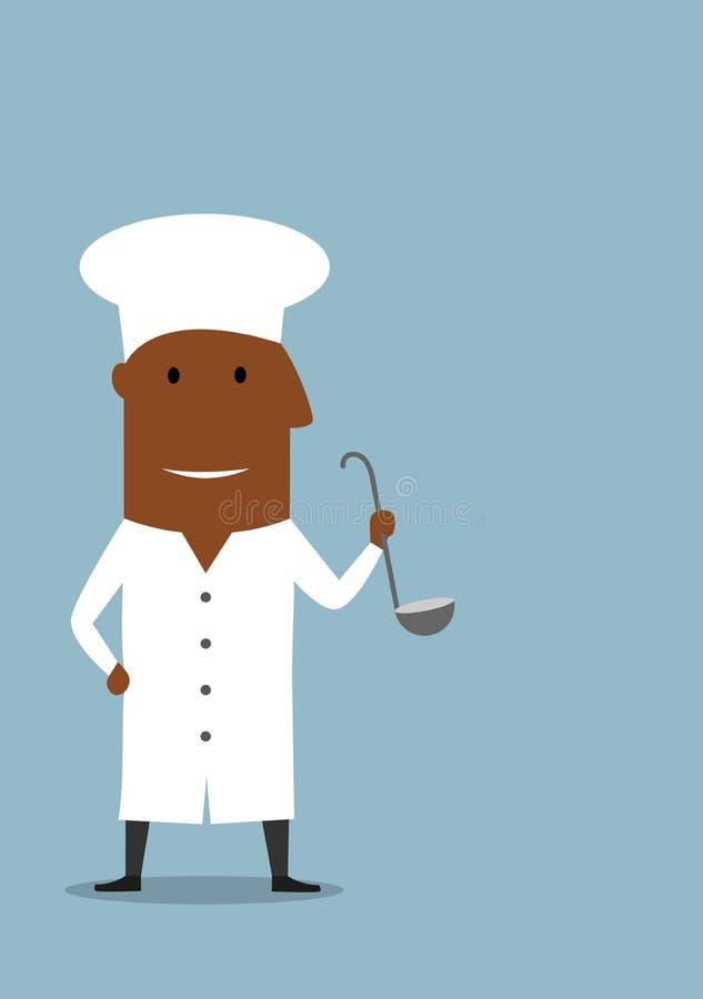 Szef kuchni lub kucharz w bielu mundurze z kopyścią ilustracja wektor