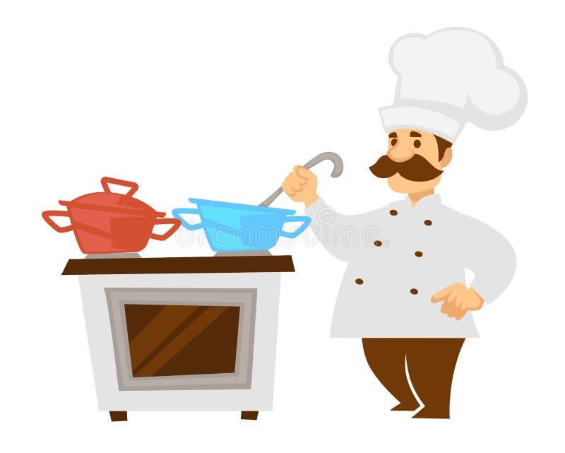 Szef kuchni lub kucharz z restauracyjną kuchnią kuchenki i rondli odizolowywaliśmy charakteru royalty ilustracja
