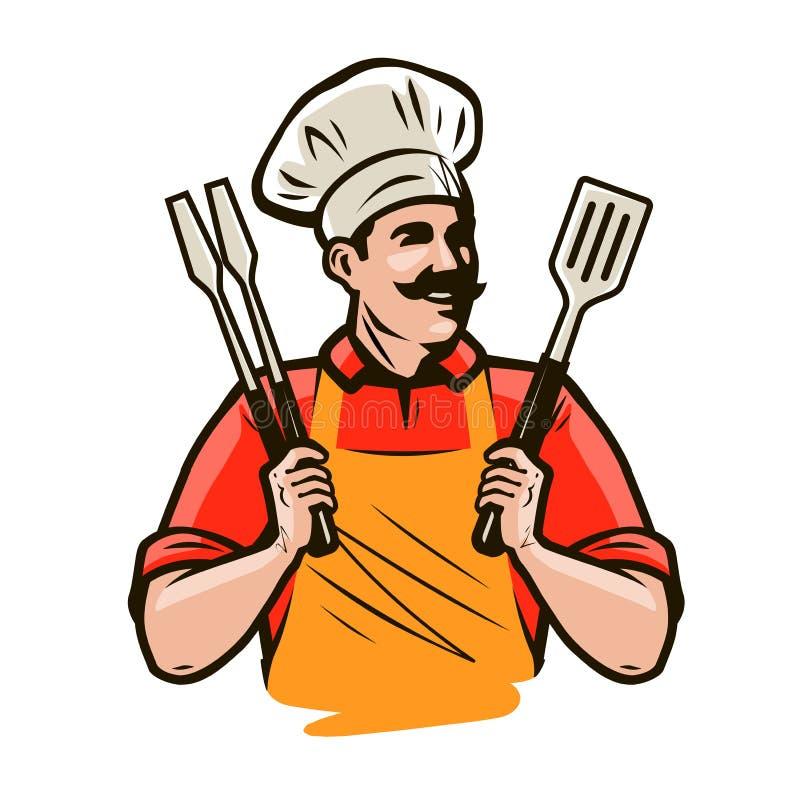 Szef kuchni lub szczęśliwy kucharz trzyma grilla wytłaczamy wzory tongs i szpachelkę Grill, kebabu jedzenie obcy kreskówki kota u royalty ilustracja