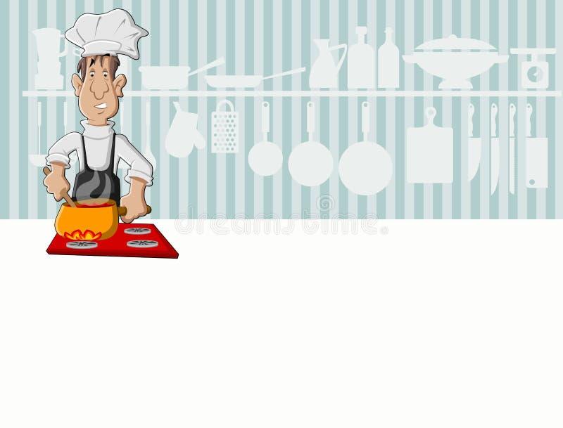 Szef kuchni mężczyzna kucharstwo royalty ilustracja
