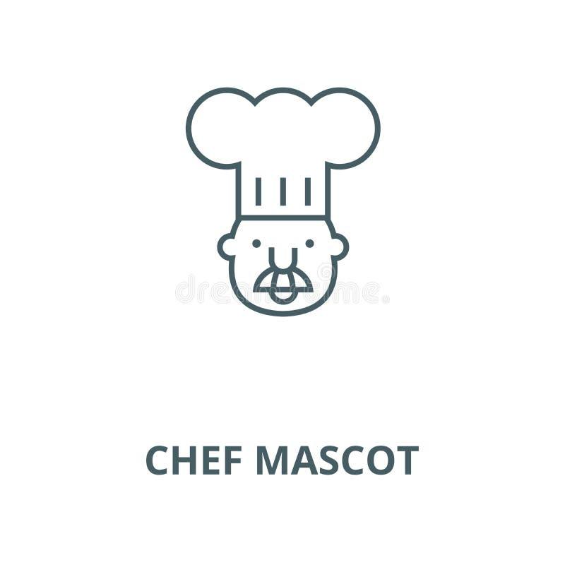 Szef kuchni maskotki linii ikona, wektor Szef kuchni maskotki konturu znak, pojęcie symbol, płaska ilustracja ilustracja wektor
