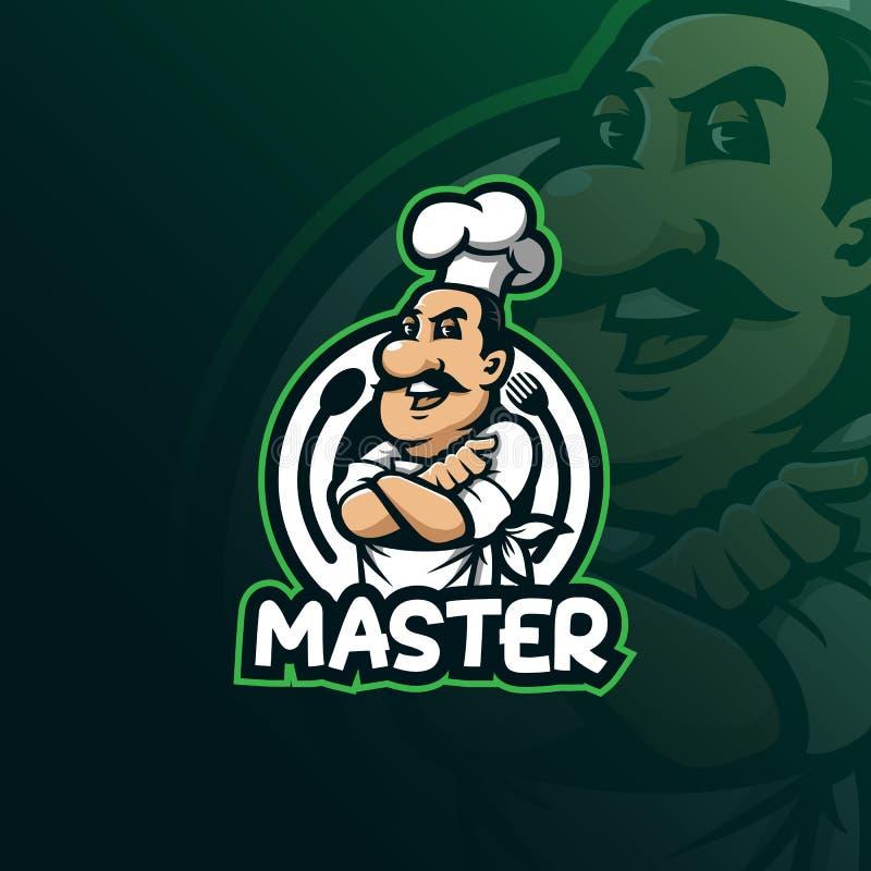 Szef kuchni maskotki logo projekta wektor z nowożytnym ilustracyjnym pojęcie stylem dla odznaki, emblemata i t koszula druku, uśm ilustracji