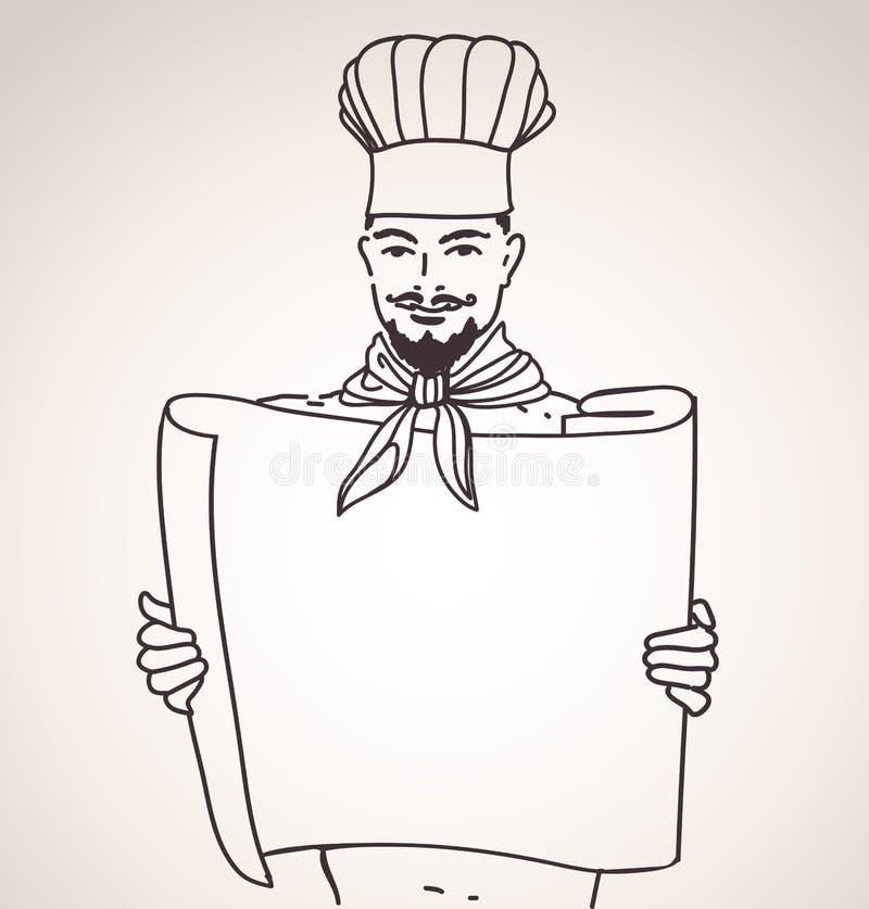 szef kuchni menu ilustracja wektor