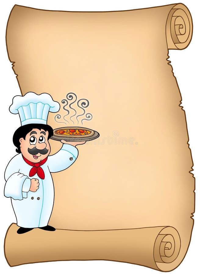 szef kuchni mienia pizzy ślimacznica ilustracji