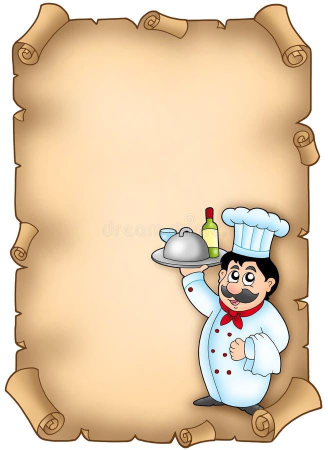 szef kuchni mienia posiłku pergamin ilustracji