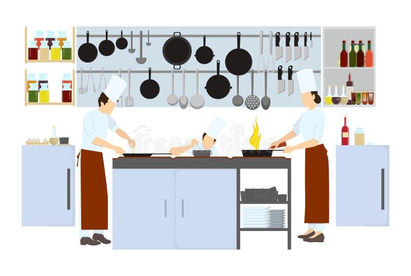 Szef kuchni na kuchni ilustracja wektor