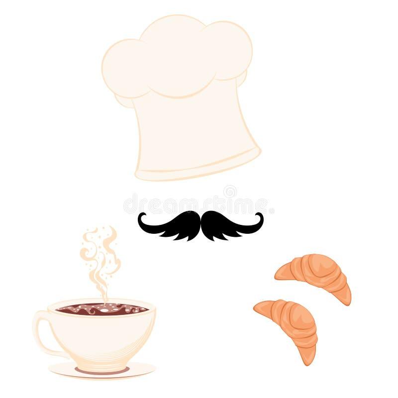 Szef kuchni nakrętka z croissant i filiżanką royalty ilustracja