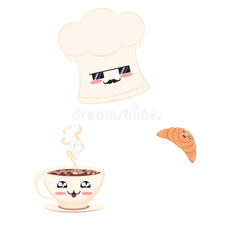Szef kuchni nakr?tka z croissant i fili?ank? ilustracja wektor