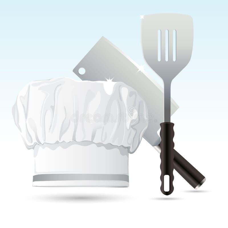 szef kuchni narzędzia kulinarni kapeluszowi ilustracja wektor