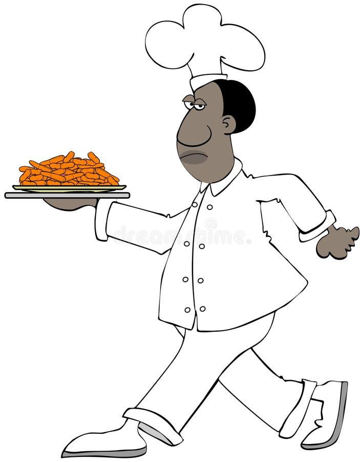Szef kuchni niesie talerza dziecko marchewki royalty ilustracja