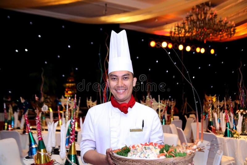 szef kuchni nowy rok obiadowy galowy zdjęcia stock