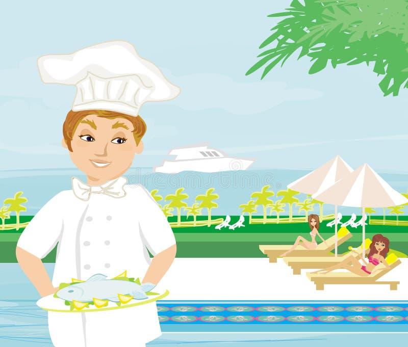 Szef kuchni oferuje naczynie ilustracja wektor
