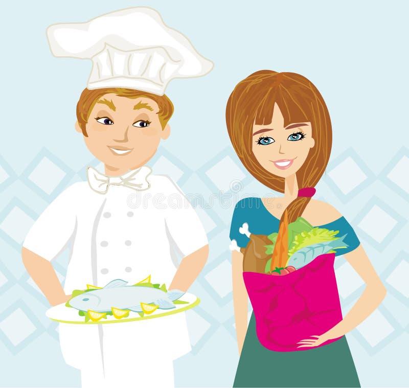 Szef kuchni oferuje naczynie ilustracji