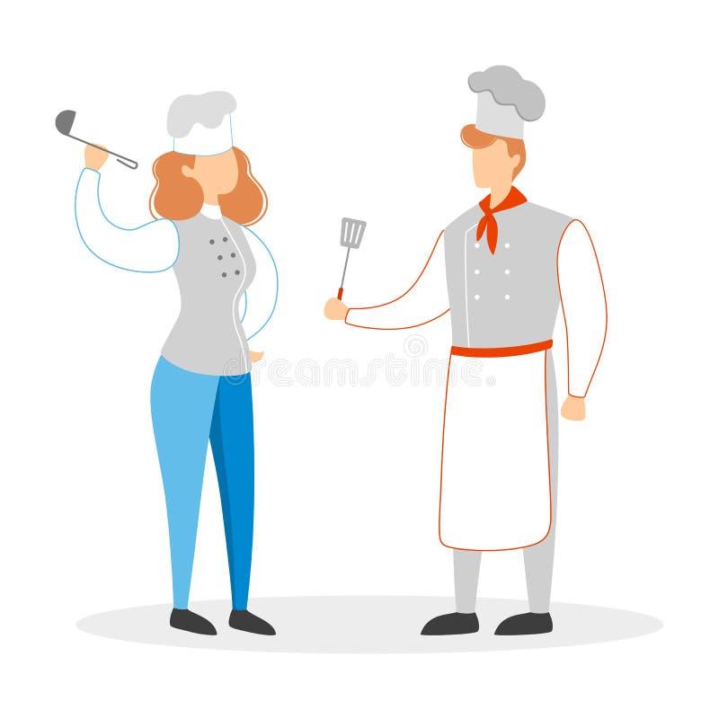 Szef kuchni para w mundurze Mężczyzna i kobieta w kapeluszu ilustracji