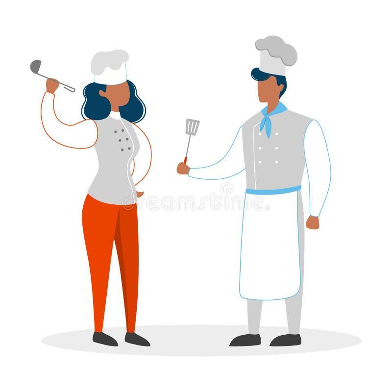 Szef kuchni para w mundurze Mężczyzna i kobieta w kapeluszu ilustracja wektor