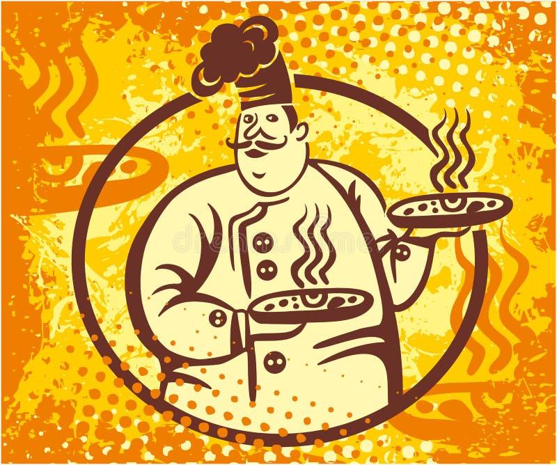 Szef kuchni pizzy sztandar ilustracja wektor