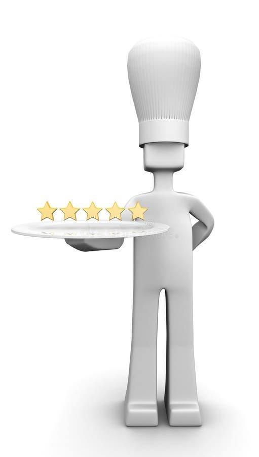 szef kuchni pojęcia pięć gościa restauracyjna porcja gwiazda royalty ilustracja