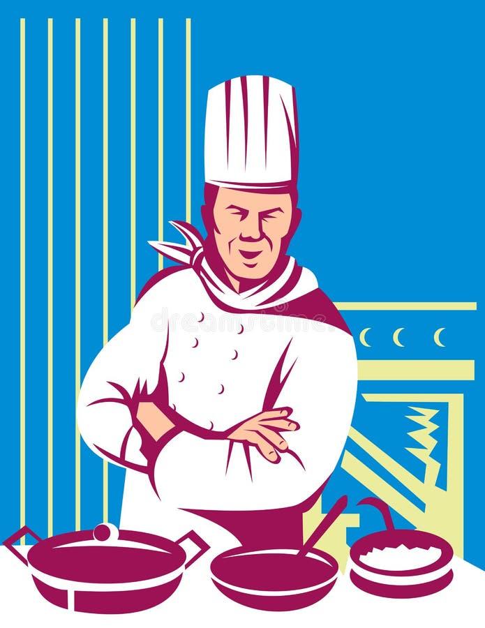 szef kuchni posiłek kucbarski kulinarny ilustracji