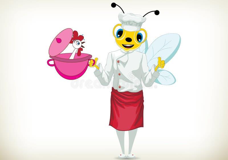 Szef kuchni pszczoła ilustracji
