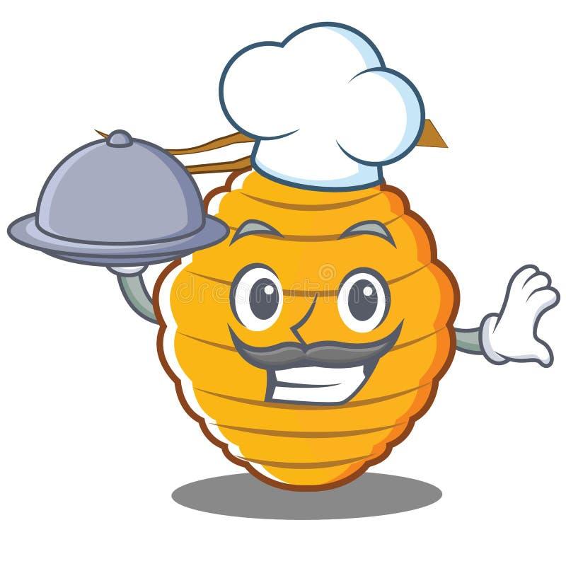 Szef kuchni pszczoły roju charakteru kreskówka ilustracja wektor