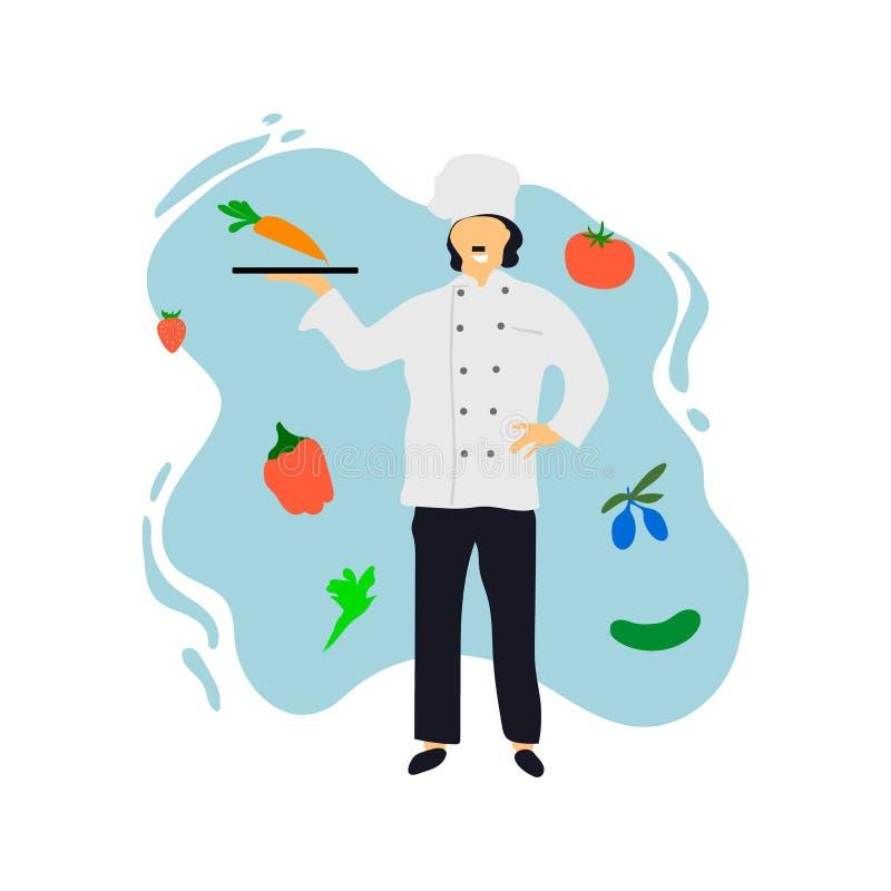 szef kuchni restauracja kulinarna kuchenna Śliczny kucharz w jednolitym narządzania jedzeniu w łomotać lub hotelu Profesjonalisty royalty ilustracja