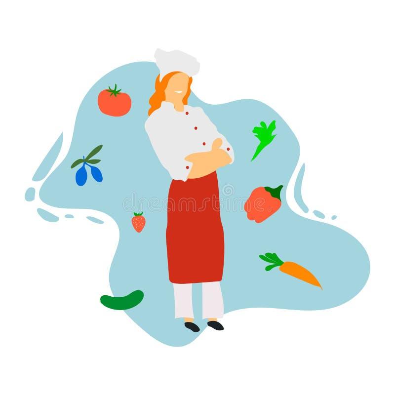szef kuchni restauracja kulinarna kuchenna Śliczny kucharz w jednolitym narządzania jedzeniu w łomotać lub hotelu Profesjonalisty ilustracja wektor