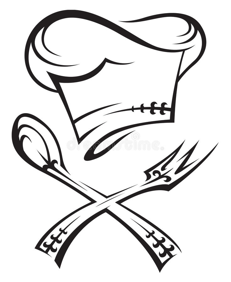 szef kuchni rozwidlenia kapeluszu łyżka ilustracja wektor