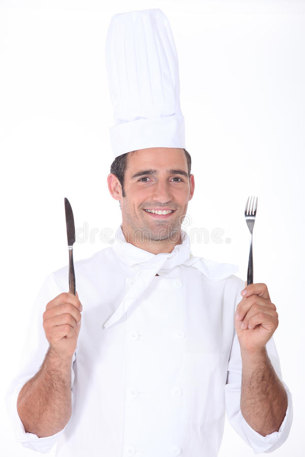 Szef kuchni rozwidlenie i nóż obraz stock