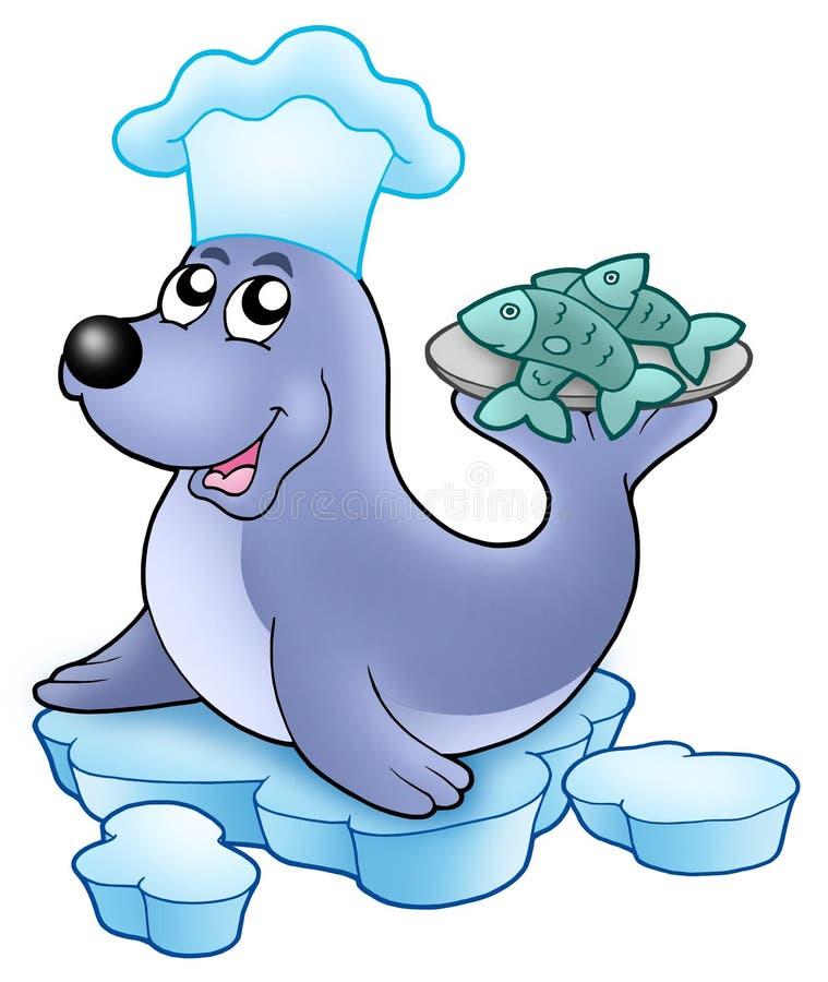szef kuchni ryba foka royalty ilustracja
