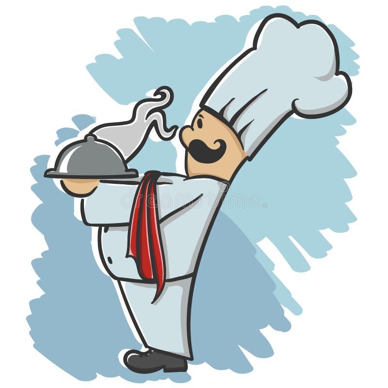 Szef kuchni słuzyć naczynie ilustracji