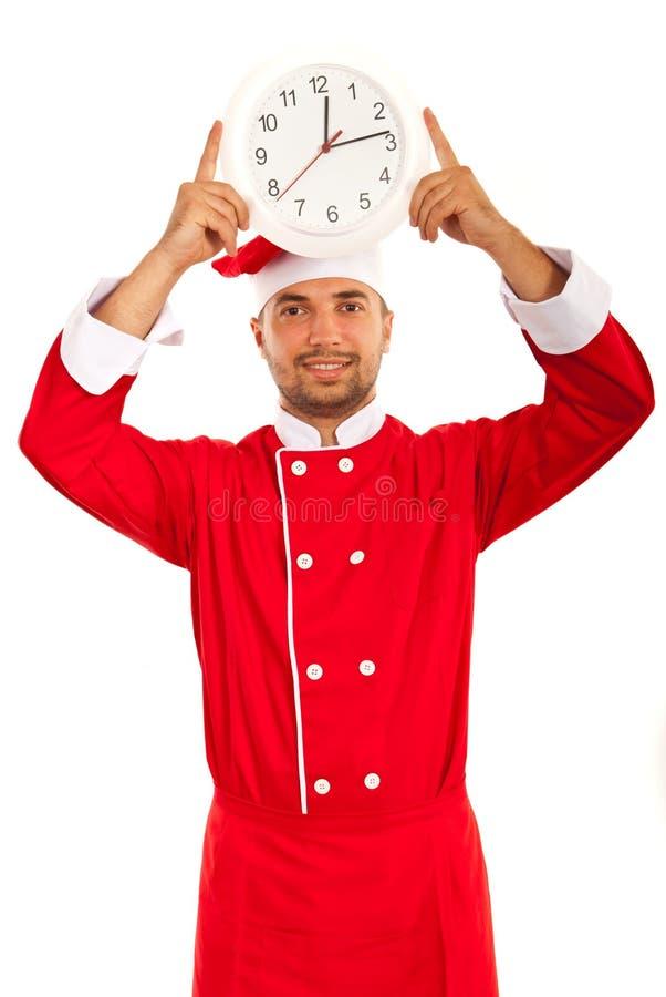 Szef kuchni samiec seansu zegar zdjęcia royalty free