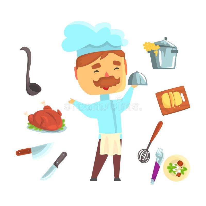 szef kuchni się uśmiecha Kuchenni urządzenia i różni naczynia ustawiają dla etykietka projekta Kolorowej kreskówki szczegółowe il royalty ilustracja