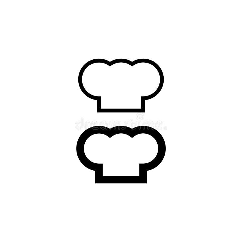 Szef kuchni sylwetki kapeluszowy set Czarnego kapeluszu szefa kuchni kucharz royalty ilustracja