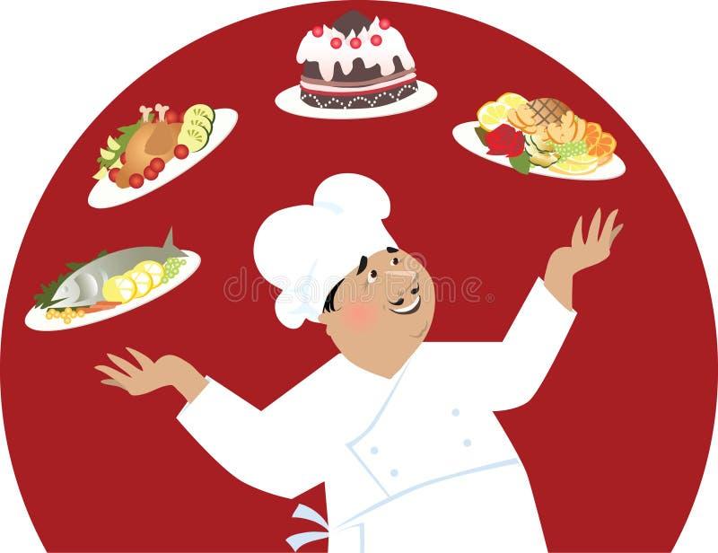 szef kuchni szczęśliwy ilustracja wektor