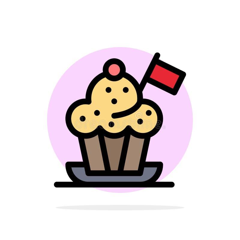 Szef kuchni, szefa kuchni kapelusz, kuchenka, kuchenka kapelusz, Chorągwianego Abstrakcjonistycznego okręgu tła koloru Płaska iko ilustracji
