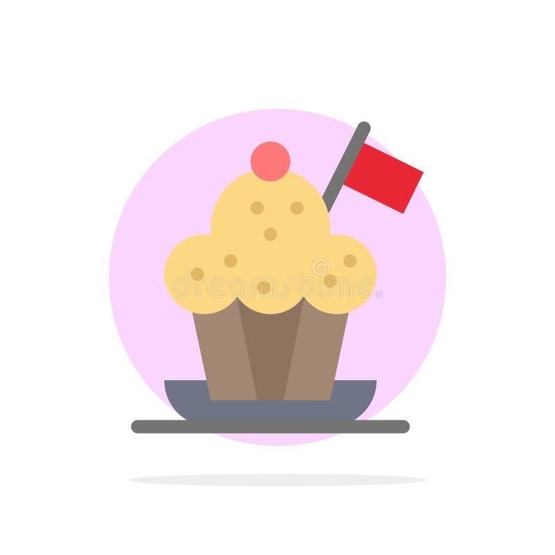 Szef kuchni, szefa kuchni kapelusz, kuchenka, kuchenka kapelusz, Chorągwianego Abstrakcjonistycznego okręgu tła koloru Płaska iko ilustracja wektor